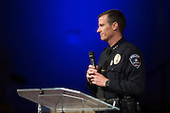 Arlington Police Chief Will Johnson speaks during a memorial service for Christian Taylor at Cornerstone Baptist Church in Arlington, Texas on August 12, 2015. (Cooper Neill for The New York Times)