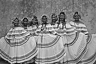 Young panamanian girls with the traditional pollera dress.