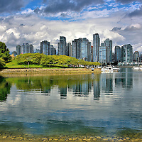 Downtown Skyline from Sutcliffe Park in Vancouver, Canada <br /> This lovely and quiet lagoon is formed by the southwest end of Granville Island and the Island Park Walk on False Creek&rsquo;s south bank.  The Sutcliffe Park offers a perfect place for a family picnic while enjoying this picturesque view of downtown Vancouver.