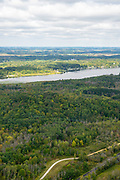 Aerial photograph of Long Lake and Kettle Moraine State Forest, Fond du Lac County, Wisconsin, USA.