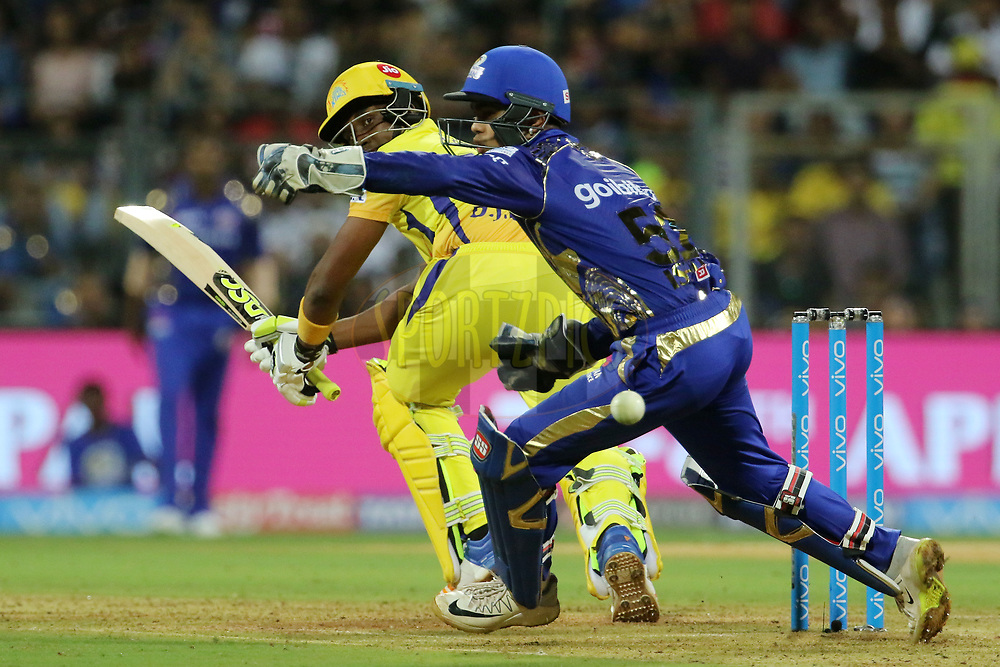 Dwayne Bravo of the Chennai Superkings plays a shot during match one of the Vivo Indian Premier League 2018 (IPL 2018) between the Mumbai Indians and the Chennai Super Kings held at the Wankhede Stadium in Mumbai on the 7th April 2018.<br /> <br /> Photo by Vipin Pawar / IPL / SPORTZPICS