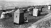 Postcard, Paris, 1910 Beach scene with huts