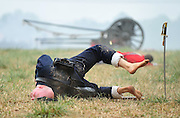 A Union soldier is shot during the reenactment of the Battle of Bull Run  at Brawner Farm in Manassas, Virginia on July 24, 2011.  This event marked the 150th anniversary of the the first major battle of the Civil War.  UPI/Kevin Dietsch