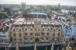 © Licensed to London News Pictures. 13/01/2016. Oriels College, Oxford. An aerial view showing the front of Oriel College at Oxford University where there is a statue of Cecil Rhodes on the front of the building. There is a campaign to remove the statue of Cecil Rhodes from the front of Oriel College by a group calling themselves Rhodes must fall. Photo credit : Mark Hemsworth/LNP