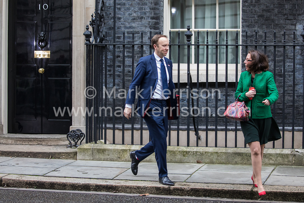 London, UK. 7 January, 2020. Baroness Evans of Bowes Park, Leader of the House of Lords and Lord Privy Seal, and Matt Hancock, Secretary of State for Health and Social Care, leave 10 Downing Street following a Cabinet meeting.