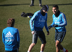 February 8, 2019 - Madrid, Spain - Real Madrid's Brazilian midfielder Casemiro  (R) attends a training session at the club's training ground in the outskirts of Madrid on February 8, 2019 Before The Liga match against Atletico Madrid. (Credit Image: © Raddad Jebarah/NurPhoto via ZUMA Press)