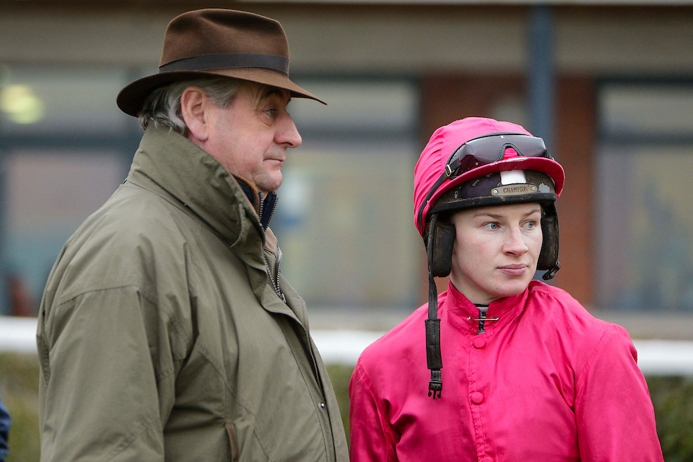 Navan Races, Saturday 27th February 2016.<br /> Noel Meade pictured with Nina Carberry before the start of the Athboy Pro/Am Flat<br /> Photo: David Mullen /www.cyberimages.net / 2016