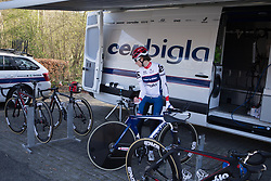 Nicole Hanselmann (SUI) of Cervélo-Bigla Cycling Team arrives back at the team bus after a quick course recce before Stage 1a of the Healthy Ageing Tour - a 16.9 km time trial, starting and finishing in Leek on April 5, 2017, in Groeningen, Netherlands.