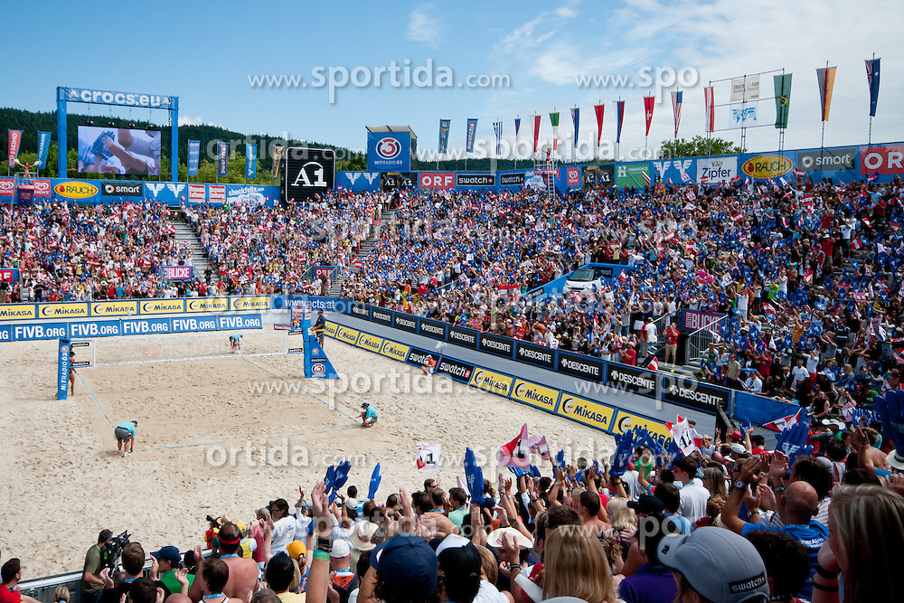 View on court at A1 Beach Volleyball Grand Slam tournament of Swatch FIVB World Tour 2010, semifinal, on July 31, 2010 in Klagenfurt, Austria. (Photo by Matic Klansek Velej / Sportida)
