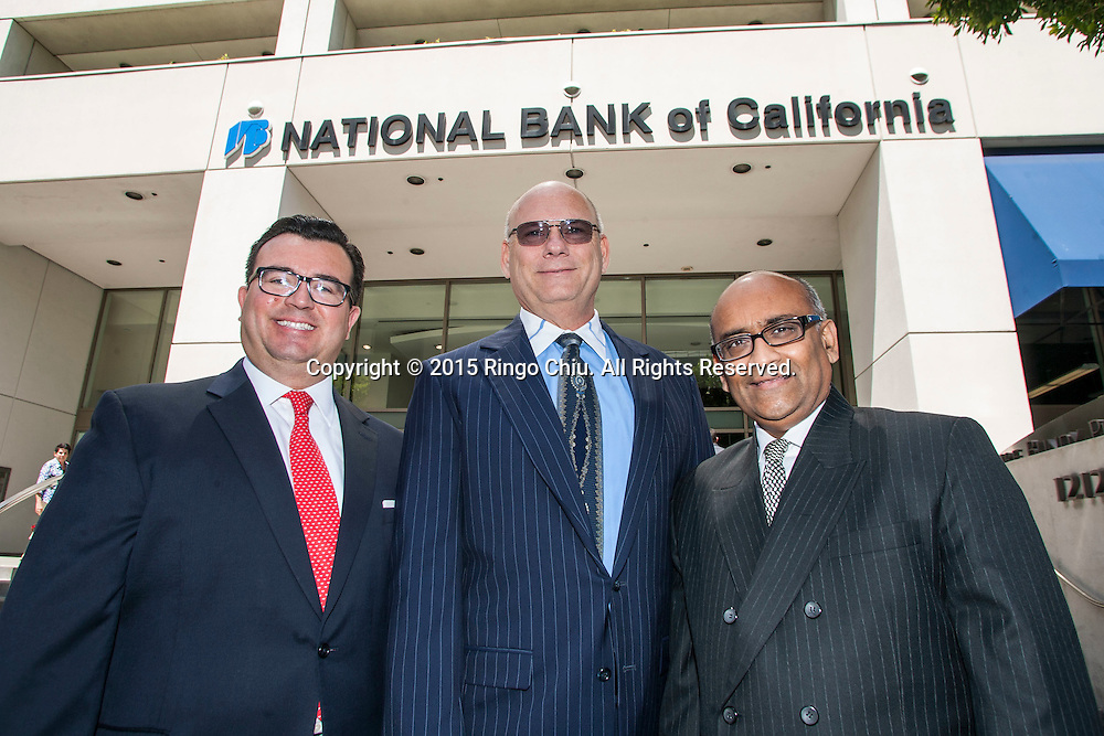 From L to R, Xavier Gutierrez, CEO of Meruelo Investment Partners, Henry Homsher, CEO of NCAL Bancorp, and Ash Patel, Chairman of NCAL Bancorp.(Photo by Ringo Chiu/PHOTOFORMULA.com)