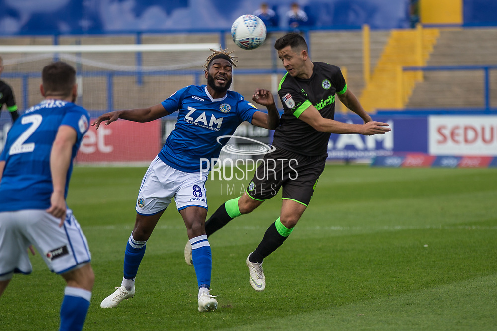 Forest Green Rovers Lloyd James(4) heads the ball during the EFL Sky Bet League 2 match between Macclesfield Town and Forest Green Rovers at Moss Rose, Macclesfield, United Kingdom on 29 September 2018.