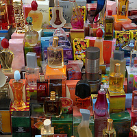Oman, Bani Bu Hassan. February/05/2008...A variety of perfumes for purchase at a street vendor stall. .