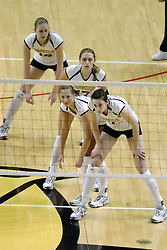 24 November 2006: Shockers line up awaiting a serve during a Semi-final match between the Missouri State Bears and the Wichita State Shockers. The Tournament was held at Redbird Arena on the campus of Illinois State University in Normal Illinois.<br />