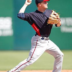 February 28, 2011; Fort Myers, FL, USA; Minnesota Twins second baseman Matt Tolbert (20) during a spring training exhibition game at City of Palms Park.  Mandatory Credit: Derick E. Hingle