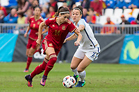 Spain's Vicky Losada England's Lucy Bronze during the frendly match between woman teams of  Spain and England at Fernando Escartin Stadium in Guadalajara, Spain. October 25, 2016. (ALTERPHOTOS/Rodrigo Jimenez)