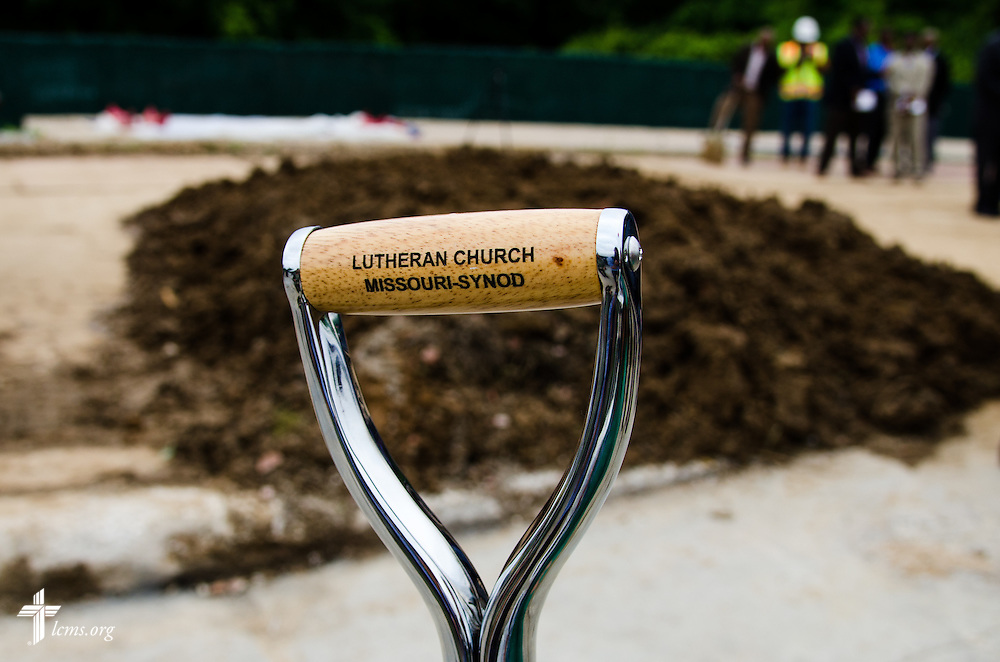 The shovel used by the Rev. Steven Schave on Thursday, July 9, 2015, at a groundbreaking in Ferguson, Mo. LCMS Communications/Frank Kohn