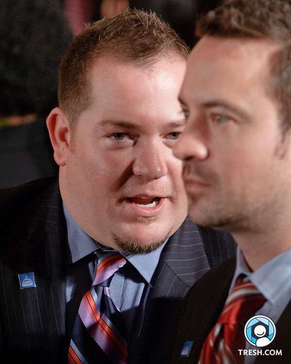 Justin Nelson and Chance Mitchell of the National Gay and Lesbian Chamber of Commerce following President Obama's remarks to commemorate the enactment.of the Matthew Shepard and James Byrd, Jr. Hate Crimes Prevention Act in the East Room of the White House, Wednesday, October 28, 2009.