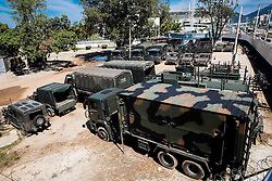 Army forces near Barra Olympic Park ahead of the Rio 2016 Summer Paralympics Games on September 4, 2016 in the Barra Olympic Park, Rio de Janeiro, Brazil. Photo by Vid Ponikvar / Sportida