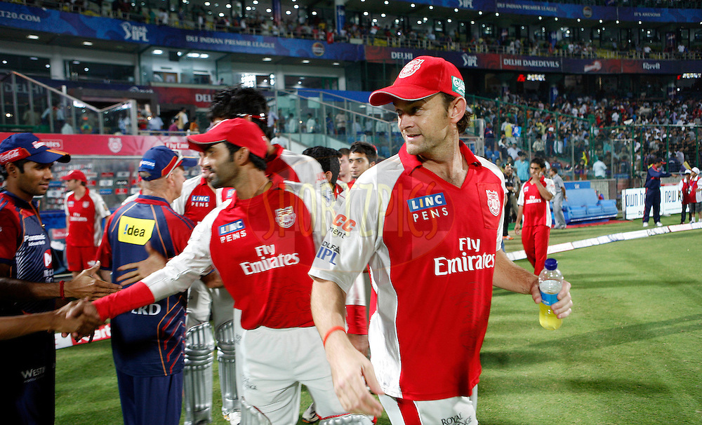 Captain of Kings XI Punjab Adam Gilchrist (R) after the match 26 of the Indian Premier League ( IPL ) Season 4 between the Delhi Daredevils and the Kings XI Punjab held at the Feroz Shah Kotla Stadium in Delhi, India on the 23rd April 2011..Photo by Money Sharma/BCCI/SPORTZPICS