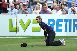 Ian Cockbain of Gloucestershire catches out Michael Carberry of Hampshire for 32 bowled by Benny Howell of Gloucestershire  - Photo mandatory by-line: Dougie Allward/JMP - Mobile: 07966 386802 - 14/07/2015 - SPORT - Cricket - Cheltenham - Cheltenham College - Natwest T20 Blast