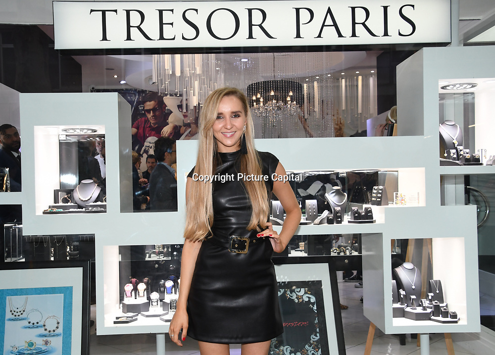 Emily Adams is a Capital FM presenter arrives at Tresor Paris In2ruders - launch at Tresor Paris, 7 Greville Street, Hatton Garden, London, UK 13th September 2018.