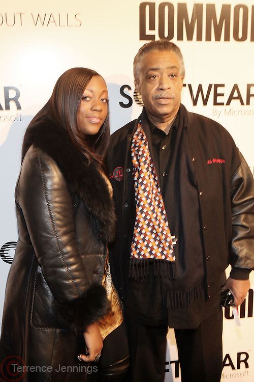 l to r: Dominque Sharpton and her father, Rev. Al Sharpton at the Common Celebration Capsule Line Launch with Softwear by Microsoft at Skylight Studios on December 3, 2008 in New York City..Microsoft celebrates the launch of a limited-edition capsule collection of SOFTWEAR by Microsoft graphic tees designed by Common. The t-shirt  designs. inspired by the 1980's when both Microsoft and and Hip Hop really came of age, include iconography that depicts shared principles of the technology company and the Hip Hop Star.