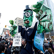 An giant puppet at Anti Olympic protest during the opening day of the 2010 Vancouver Olympic games.  February 12th, 2010....