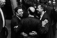 ROME, ITALY - 24 February 2014:  Antonio Gentile (sinistra) e Angelino Alfano nell'aula del Senato il giorno della fiducia al Governo Renzi, in Rome, Italy, on February 24th 2014.