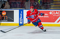 KELOWNA, BC - FEBRUARY 06:  Bobby Russell #21 of the Spokane Chiefs warms up against the Kelowna Rockets  at Prospera Place on February 6, 2019 in Kelowna, Canada. (Photo by Marissa Baecker/Getty Images)