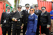 Carlisle fans in fancy dress pilot costumes before the EFL Sky Bet League 2 match between Exeter City and Carlisle United at St James' Park, Exeter, England on 6 May 2017. Photo by Graham Hunt.