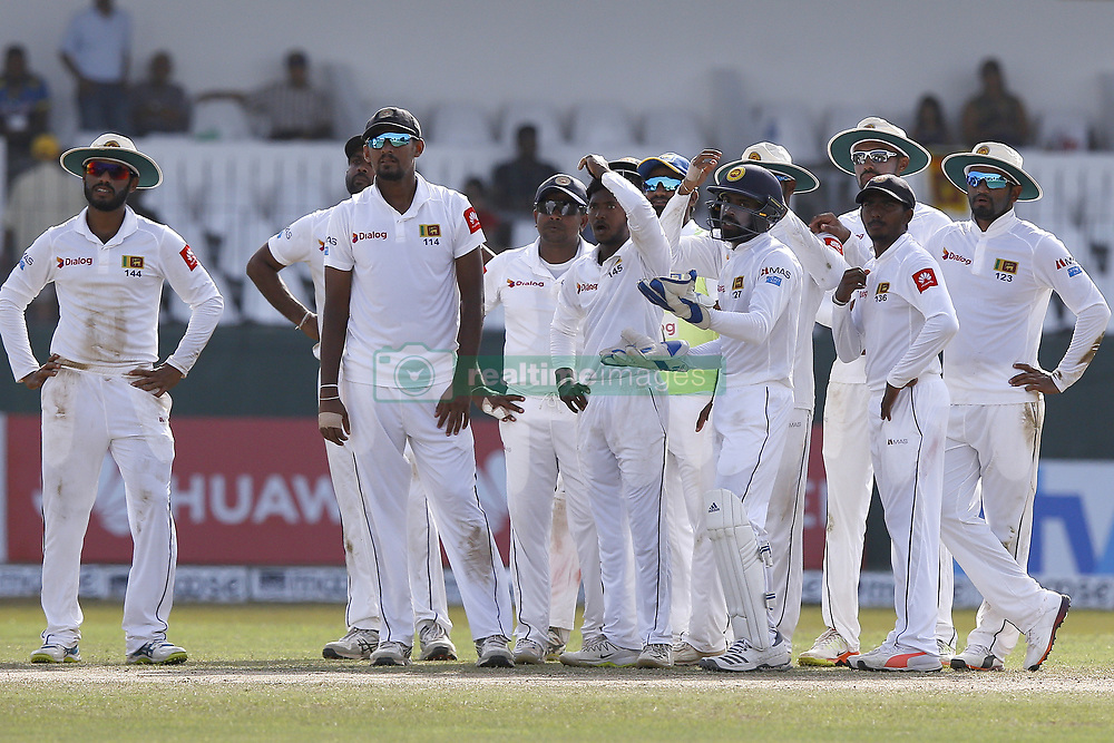 July 22, 2018 - Colombo, Sri Lanka - Sri Lankan cricket team members react as they watch a replay in the big screen during the 3rd day's play in the 2nd test cricket match between Sri Lanka and South Africa at SSC International Cricket ground, Colombo, Sri Lanka on Sunday  22 July 2018  (Credit Image: © Tharaka Basnayaka/NurPhoto via ZUMA Press)