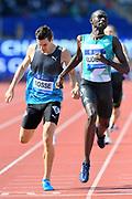 David Rudisha (KEN) defeats Pierre-Ambroise Bosse (FRA) to win the 600m, 1:13.10 to 1:13.21 during IAAF Birmingham Diamond League meeting at Alexander Stadium on Sunday, June 5, 2016, in Birmingham, United Kingdom. Photo by Jiro Mochizuki