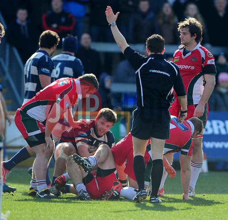 The referee gives a foul against Bristol rugby - Photo mandatory by-line: Dougie Allward/JMP - Tel: Mobile: 07966 386802 31/03/2013 - SPORT - RUGBY - Memorial Stadium - Bristol. Bristol v Plymouth Albion - RFU Championship.