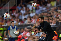 August 20, 2018 - Valencia, Valencia, Spain - Diego Pablo Simeone head coach of Atletico de Madrid reacts at the dugout during the La Liga match between Valencia CF and Club Atletico de Madrid at Mestalla on August 20, 2018 in Valencia, Spain  (Credit Image: © David Aliaga/NurPhoto via ZUMA Press)