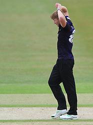 Liam Norwell of Gloucestershire cuts a dejected figure - Photo mandatory by-line: Dougie Allward/JMP - Mobile: 07966 386802 - 12/07/2015 - SPORT - Cricket - Cheltenham - Cheltenham College - Natwest Blast T20