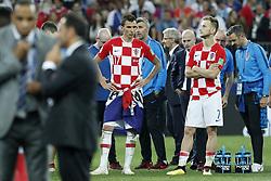(L-R) Mario Mandzukic of Croatia, Ivan Rakitic of Croatia during the 2018 FIFA World Cup Russia Final match between France and Croatia at the Luzhniki Stadium on July 15, 2018 in Moscow, Russia