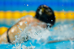 A swimmer competes during the heats - Photo mandatory by-line: Rogan Thomson/JMP - 07966 386802 - 16/04/2015 - SPORT - SWIMMING - The London Aquatics Centre, England - Day 3 - British Swimming Championships 2015.