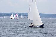 _V0A8104. ©2014 Chip Riegel / www.chipriegel.com. The 2014 Bullseye Class National Regatta, Fishers Island, NY, USA, 07/19/2014. The Bullseye is a Nathaniel Herreshoff designed 15' Marconi rig sailing boat.
