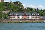 Festung Ehrenbreitstein und Schloss Philippsburg, Rhein, Koblenz, Oberes Mittelrheintal, Rheinland-Pfalz, Deutschland | fortress Ehrenbreitstein and Philippsburg palace, Rhine, Koblenz, Upper Middle Rhine Valley, Rhineland-Palatinate, Germany