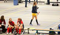 ARNHEM - Emilie Mol verlaat geblesserd de sporthal. , De vrouwen van Den Bosch tijdens de eerste dag van de zaalhockey competitie in de hoofdklasse, seizoen 2013/2014. FOTO KOEN SUYK