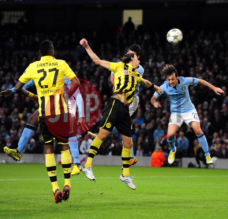 Manchester City's Sergio Aguero sees his shot well saved - Photo mandatory by-line: Joe Meredith/JMP  - Tel: Mobile:07966 386802 03/10/2012 - Manchester City v Borussia Dortmund - SPORT - FOOTBALL - Champions League -  Manchester   - Etihad Stadium -