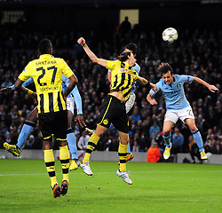 Manchester City's Sergio Aguero sees his shot well saved - Photo mandatory by-line: Joe Meredith/JMP  - Tel: Mobile:07966 386802 03/10/2012 - Manchester City v Borussia Dortmund - SPORT - FOOTBALL - Champions League -  Manchester   - Etihad Stadium -