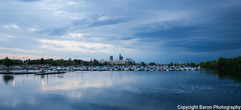 Cleveland skyline with Lake Erie at dusk