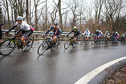 Pauline Ferrand-Prevot (FRA) of CANYON//SRAM Racing leans into a corner during the Trofeo Alfredo Binda - a 131,1 km road race, between Taino and Cittiglio on March 18, 2018, in Varese, Italy. (Photo by Balint Hamvas/Velofocus.com)