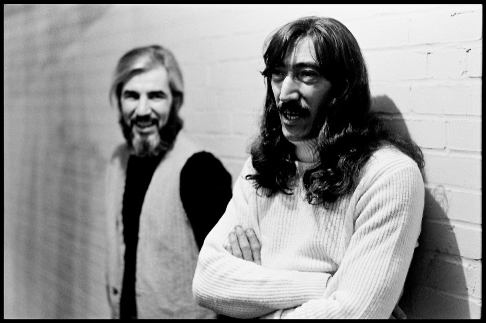 "Fall River, Massachusetts - 18 February 1968. John Leon ""Bunk"" Gardner (left) and Jimmy Carl Black of The Mothers of Invention prior to a performance. © 2020 Ed Lefkowicz<br />