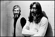 """Fall River, Massachusetts - 18 February 1968. John Leon """"Bunk"""" Gardner (left) and Jimmy Carl Black of The Mothers of Invention prior to a performance. © 2020 Ed Lefkowicz<br /> <br /> For licensing of any of the images in this portfolio go to https://www.mptvimages.com/<br /> <br /> For fine art prints, get in touch with me directly."""