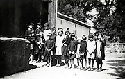 schoolchildren with teacher group photo rural France