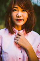 A portrait of a young Vietnamese woman in Hanoi, Vietnam.