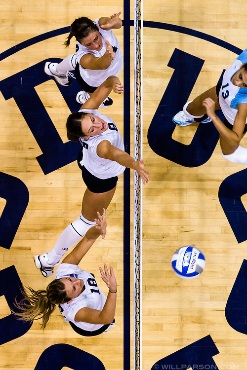 UC San Diego's Roxanne Brunsting (top), Hannah Gary (middle), and Amber Ries put up a wall against Cal State San Bernadino at San Diego's RIMAC Arena on September 21, 2007. The trio of tall Tritons in the middle has proved to be a crucial component to a successful year, with players like Ries helping UCSD compile an 11-6 record.