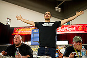 Tyson Henry wins the wing eating finals to claim his second title in three years during ZestFest at the Irving Convention Center on Saturday, January 26, 2013 in Irving, Texas. (Cooper Neill/The Dallas Morning News)